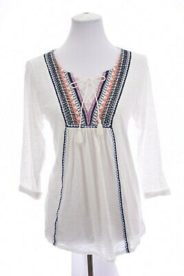 Lucky Brand Womens Embroidered Tunic Burnout Top Tassel Lace Up White Sz Large
