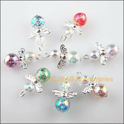 16 New Dancing Angel Charms Silver Plated Wings Mixed Beads Pendants 14x21mm
