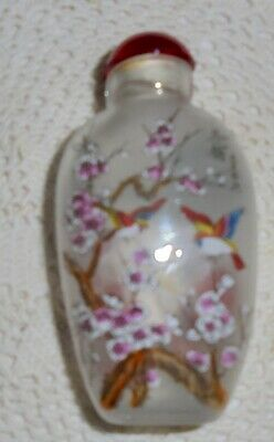 J21 Beautiful Vintage Chinese Glass Snuff Bottle Painted Inside two different Pa
