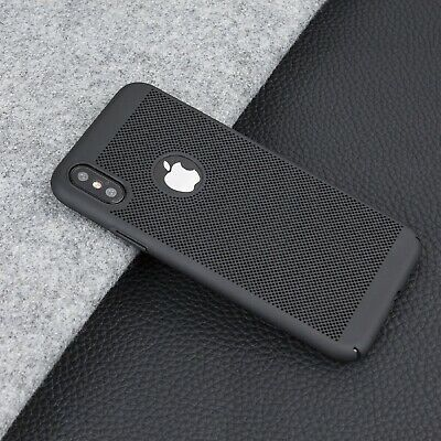 Nero Lusso Sottile Rete Traspirante PC Custodia Rigida Cover per Apple IPHONE XS