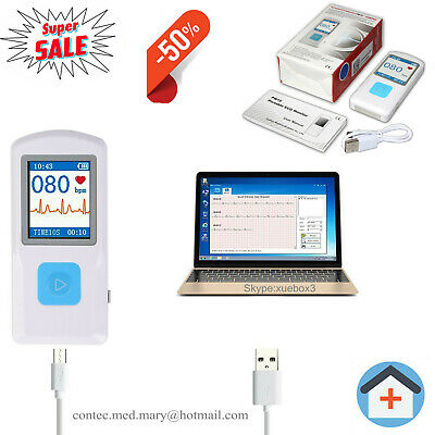 Portable ECG Monitor Heart Rate Beat LCD Bluetooth Electrocardiogram PC Software