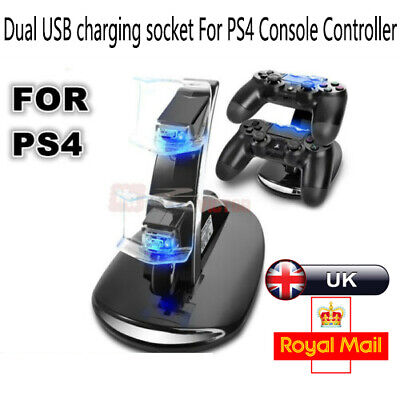 PlayStation PS4 Controller LED Charger Dock Station Dual USB Fast Charging UK。