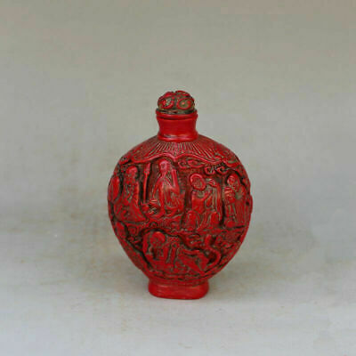 Old china Resin imitation red coral eighteen arhat snuff pot antiques collection