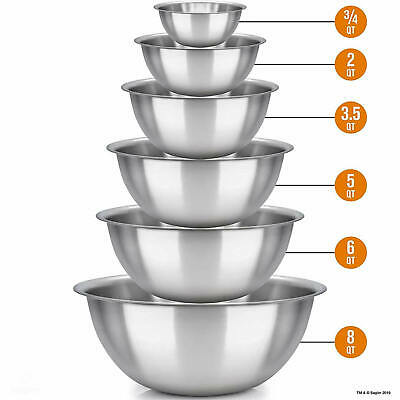 6x Mixing Bowls Polished Mirror Finish Kitchen Cooking Supplies Stainless Steel