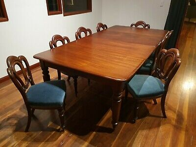 Antique Regency Mahogany Dining Table Eight Admiralty Chairs