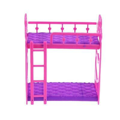 Beautiful Plastic Bunk Bed Bedroom Furniture Bed Set Dollhouse For Dolls N2Z1