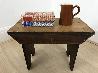 Charming Early 1900s Vintage Stool Milking Coffee Side Table Country Rustic