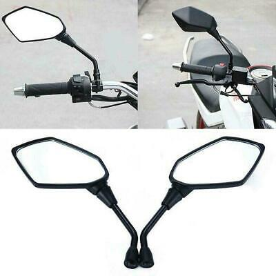 2 Pcs Universal Black Motorcycle Motorbike Rearview 10mm Side Mirror View R I5V4