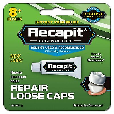 DENTEMP RECAPIT REPAIR LOOSE CAPS.  NO MIX DENTAL CEMENT 1g 1,2,3&6 Available