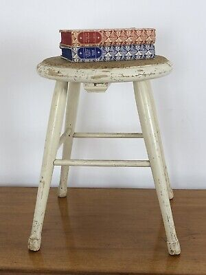 Vintage Cork Top Milking Stool Step Side Table Rustic Farmhouse Plant Pot Stand