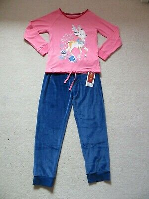 BNWT Girls M&S Merry Christmas Reindeer Velour Bottom Pyjamas Age 9-10 yrs