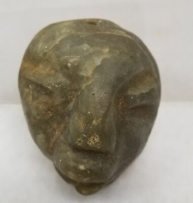 Antique Mexico Pre-Columbian Olmec Teotihuacan Style Carved Greenstone Mask