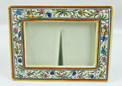 Coimbra Ceramics Hand Painted XVII Picture Frame Signed 4x6""