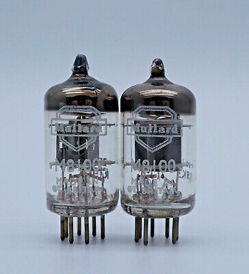 Mullard EF95 M8100 5654 Black Plate Halo Getter Valves Matched Pair