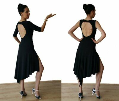 Stretchy Argentine Tango Open Back Practice Dress With Two Slits. Black