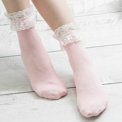 Women Girls Vintage Lace Ruffle Frilly Ankle Socks Cotton Socks Solid Color