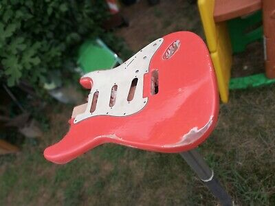 stratocaster body FIESTA RED Relic, painted and finished handmade, ALDER WOOD!