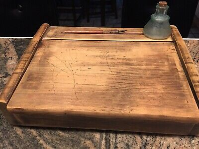 Antique Wooden Table Writing Desk With Pen And Ink Bottle