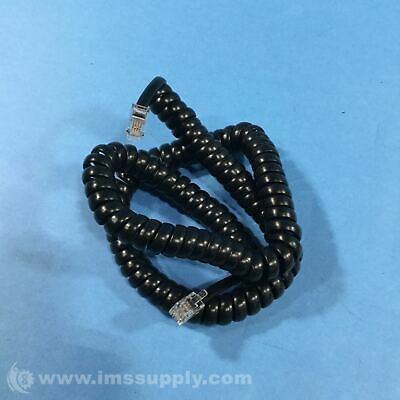 "20"" Coiled Telephone Cord, Black Usip"