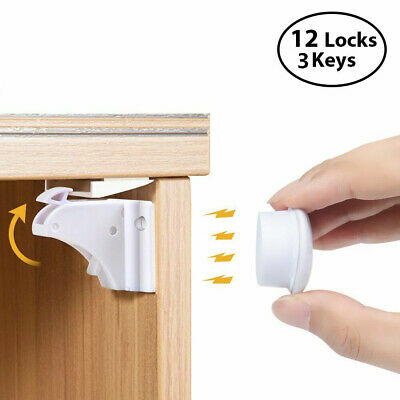 Magnetic Cabinet Locks Baby Safety Invisible Child Kids Proof Cupboard Drawer US