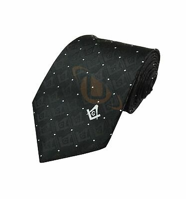 Superior Quality Masonic Tie with Square Compass & G Mason tie Black