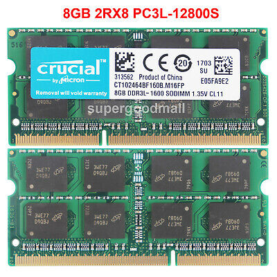 For Crucial 8GB 16GB 32GB 2Rx8 PC3L-12800S DDR3L-1600Mhz SODIMM Laptop Memory