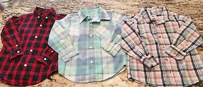 3 Baby Gap, Old Navy, Janie Jack boys 3t long Sleve Plaid Button Down Shirts EUC