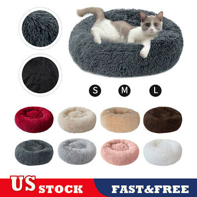 Pet Dog Cat Calming Bed Round Warm Soft Plush Cushion Comfortable for Sleeping