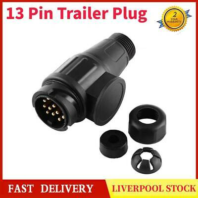 UK Black 13 Pin Trailer Plug Pole Wiring Connector Adapter for Trailers Caravans