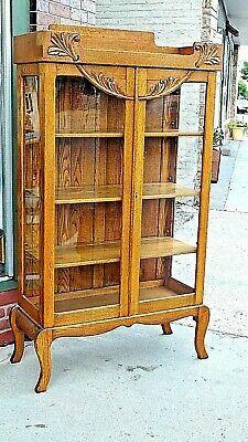 Arts & Crafts Mission Antique Oak Double door China display cabinet bookcase