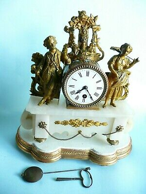 Antique Marble and Gilt French 8 Day Mantle Clock & Stand............ref.1769