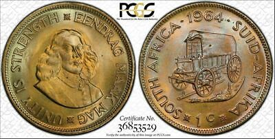 1964 SOUTH AFRICA ONE CENT PCGS MS65 Unique Blue Toned TOP POP ONE GRADED HIGHER