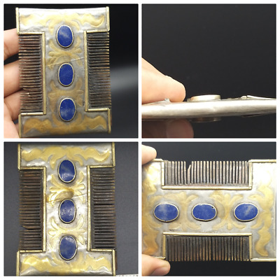 Vintage Old Gold Gilding Mixe Silver Turkman Jewellery Wonderfull Comb