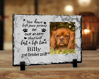 Personalised Memorial Slate Plaque Pet Dog Photo Beautiful Words  - YOUR Picture