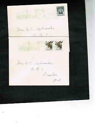 CANADA 1953 HOUSE of COMMONS MOOSE & BIGHORN SHEEP 2 FDC #323-4  BOX 521