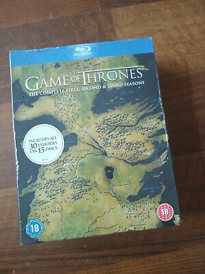GAME OF THRONES (1-3) THE COMPLETE  SEASONS BLU-RAY sealed.new
