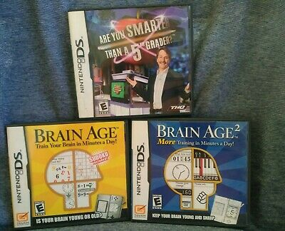 LOT of 3 Nintendo DS games Are You Smarter than a 5th grader Brain Age 2