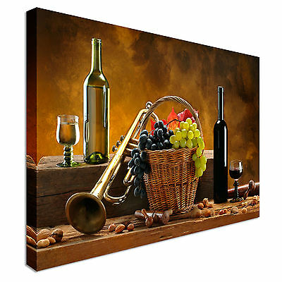 Red and White wine and Grapes Canvas Wall Art Picture Print