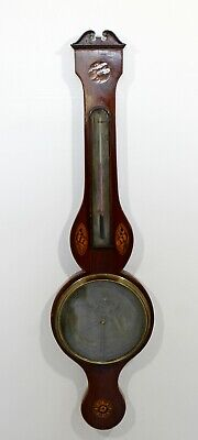 Antique Marquetry Inlaid Wood Barometer W. Wright