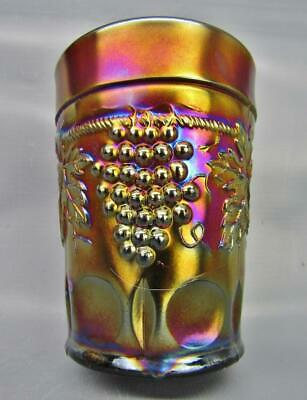 """Northwood GRAPE & CABLE Lovely Amethyst Carnival Glass 4"""" Tumbler 7015"""