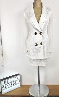 1980s White  Short Skirted Suit By Judy Knapp Fantastic Detailed Buttons Size 12