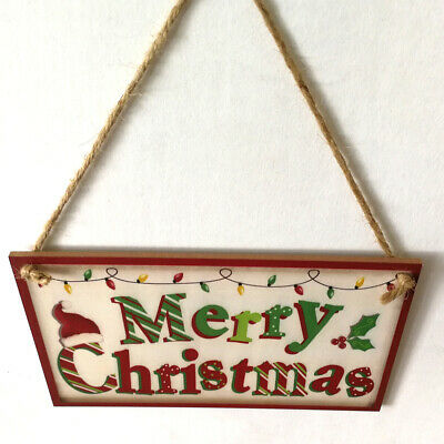 Home Door Decoration  Christmas Wall Retro Hanging Sign Wood Plank Plaques