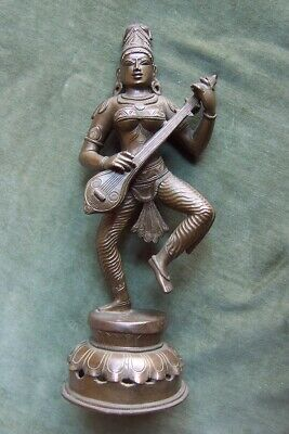 HINDU Bronze God Godess- Saraswati- fine old statue-12.5 inches-Chola-beautiful