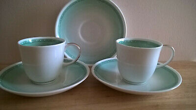 Susie Cooper 1950s Green Harlequin Raised Dot design 2 Coffee Cups 3 Saucers VGC