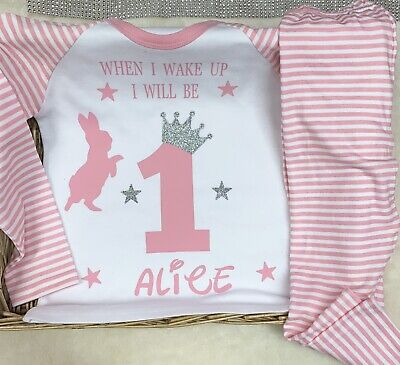 When I Wake Up Baby Personalised birthday pyjamas Rabbit One 1st Cute