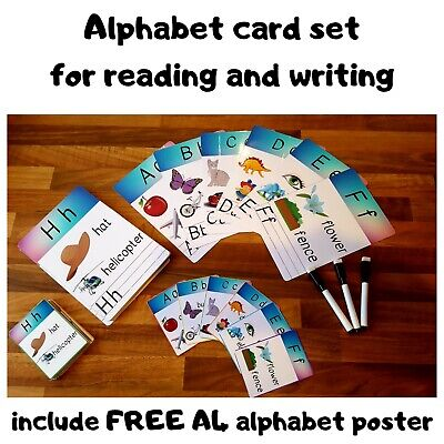 Large & Small Size Alphabet & Handwriting Practice card set + FREE A4 POSTER