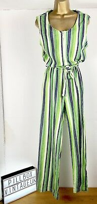 Vintage 1990s Green, Blue & White Striped sleeveless  Jumpsuit Size 10-12
