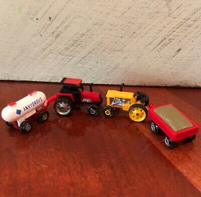 Lot of 4 Micro Machines RED Case & YELLOW Tractors ANHYDROUS & HAY Trailers