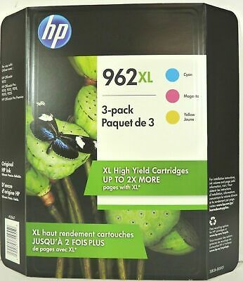 NEW Genuine HP 962XL High Yield Ink Cartridges TRI-COLOR 3-Pack Exp 03/2021 3067