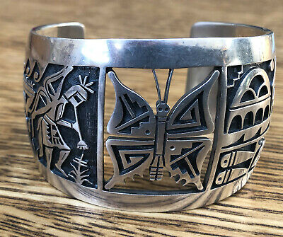 VINTAGE HOPI INDIAN STERLING SILVER OVERLAY CUFF BRACELET by CHALMERS DAY